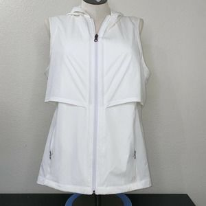 Calia Woven Ruched Hooded Vest Pure White XXL NWT